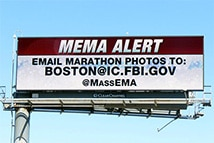 Digital billboard message encouraging Bostonians to send any photos from the Boston marathon bombing to the FBI