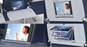 Examples of the SmartTray in-flight table tray X1, X2 & X3 products.